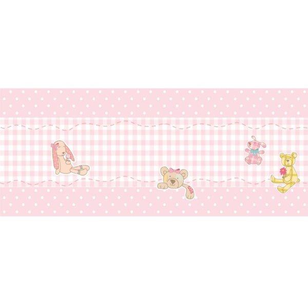 Faixas/Bordas Infantis com boneca e ursos para crianças com Fundo em Tom de rosa