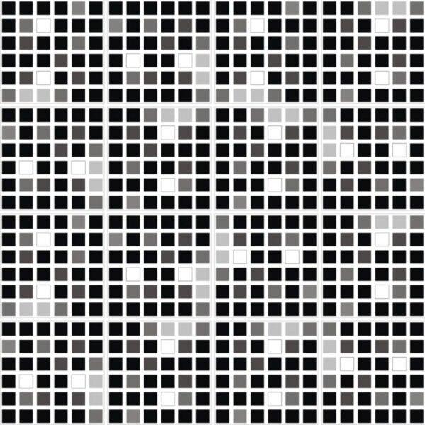 Pastilhas Adesivas miscelânea em tons de preto e branco, para decoração de ambientes.