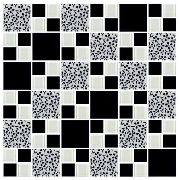 Pastilha simples adesiva multiformas com tons de preto e Branco para decoração de ambientes.