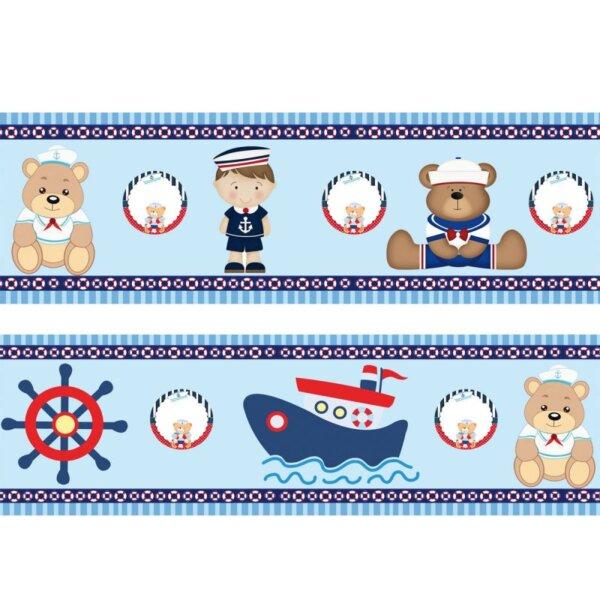 Faixas/Bordas Infantis de Marinheiro com ursinhos fundo Azul