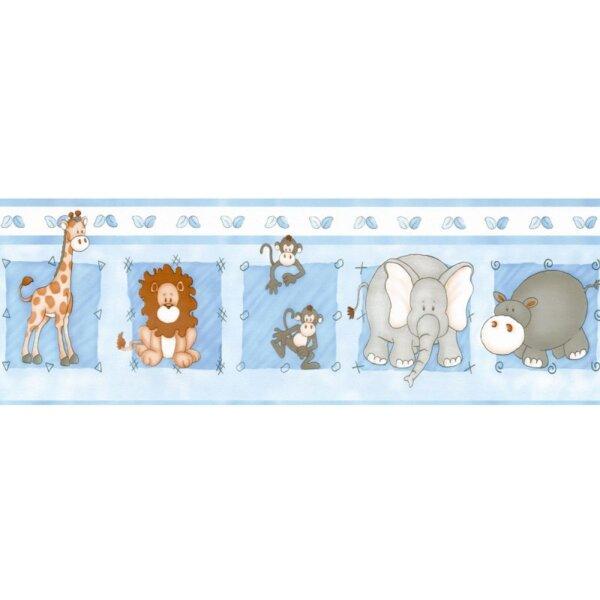 Faixas/Bordas Infantis com Animais com Fundo Azul