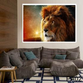 Adesivo Painel de Parede de leão para Quarto e Sala