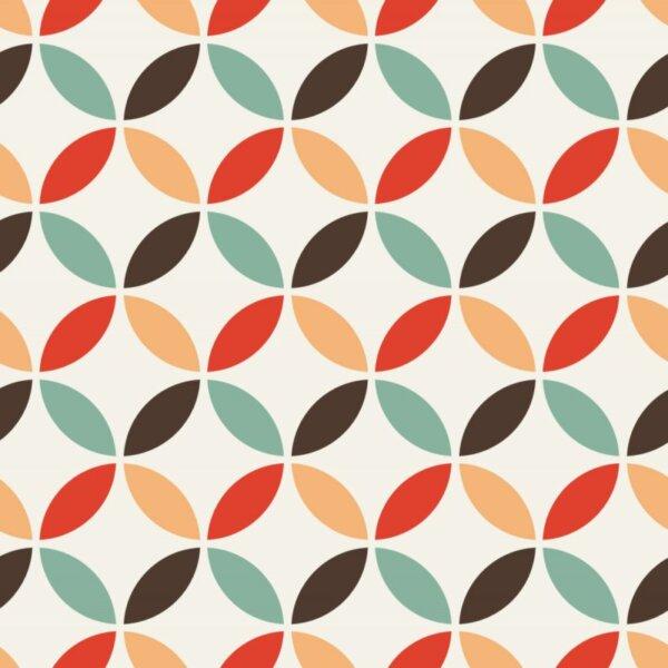 Pastilhas Adesivas Simples multiformas nos tons de marrom, branco, verde ,vermelho e laranja para decoração de ambientes