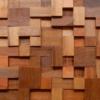 Pastilha Adesiva para decoração de ambientes mosaico de madeira em tons de marrom