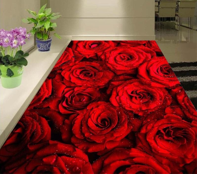 Frete-gr-tis-Personalizado-3D-Adesivo-de-Parede-Rom-ntico-rosas-vermelhas-Banheiro-Piso-Pintura-Da